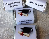 210 GRADUATION THEMED personalized candy wrappers, adhesive stickers, labels for your Hershey nuggets. Make great party favors!