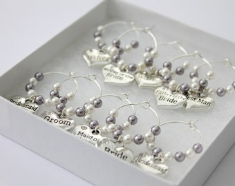 Wedding Top Table Charms Bridal Party Wine Glass Charms, Bride, Groom, Bridesmaids