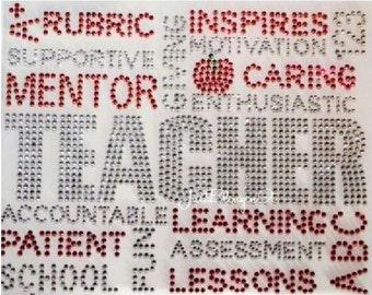 Teacher Inspiration Iron On Rhinestone Transfer