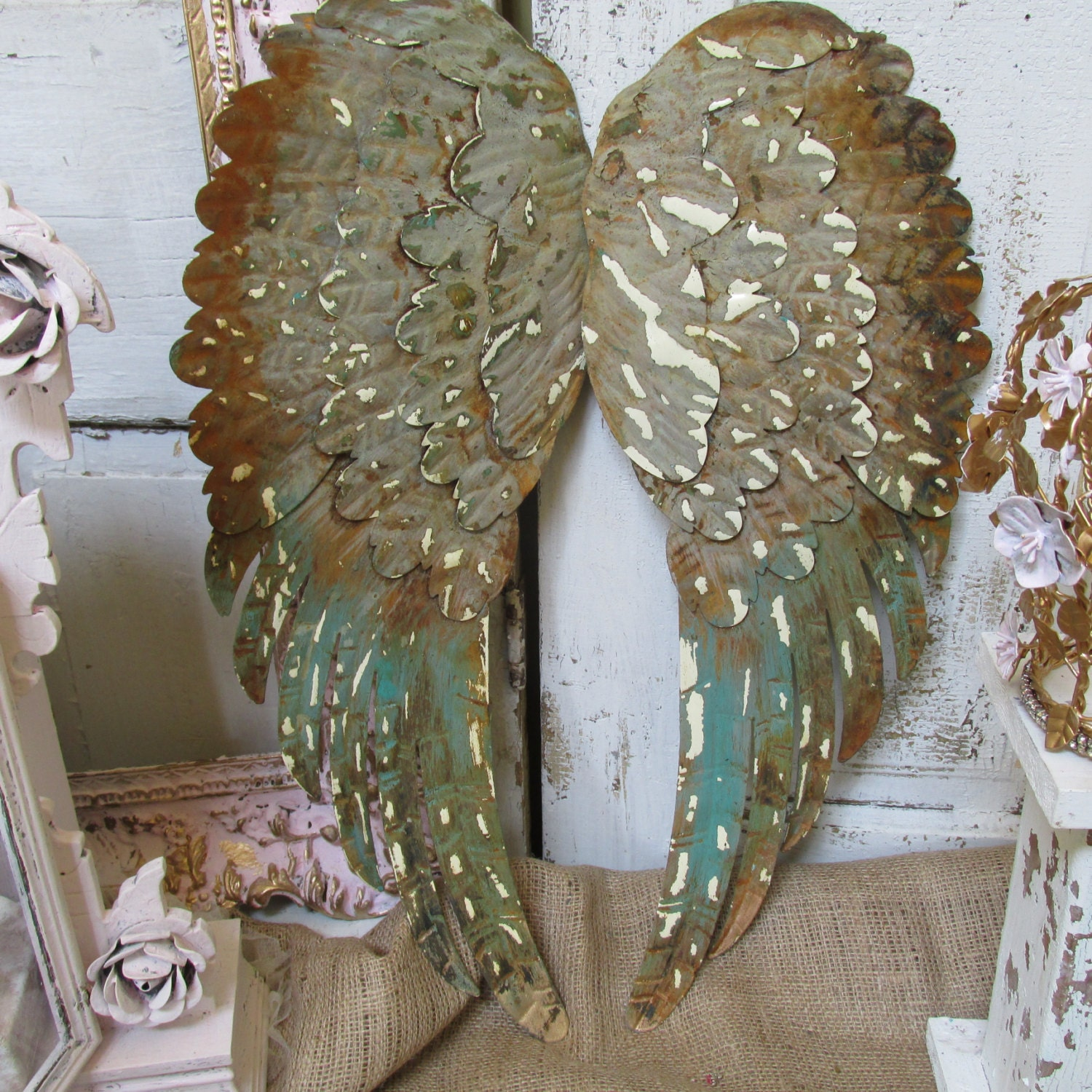 Large Distressed Wall Decor : Large metal wings wall decor rusty distressed shabby hand