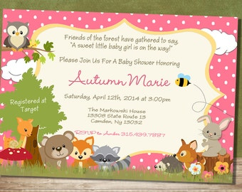 Baby Girl Forest Themed Baby Shower Invitation - Woodland Baby Animal Baby Shower Invitation-Neutral