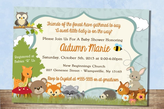 printable forest themed baby shower invitation woodland baby, Baby shower invitations