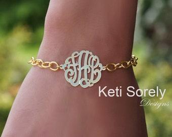 Monogrammed Initials Bracelet Large Chain (Order Any Initials)  with 24K Gold Overlay