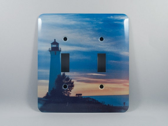 Light switch cover crisp pt michigan lighthouse sunset for Lighthouse switch plates