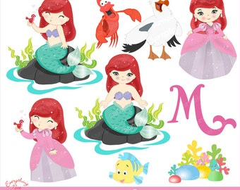 The Little Mermaid Clipart Set