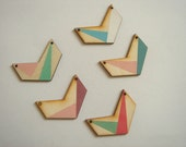 Hand painted  Wood Pendants,Do it Yourself  necklace