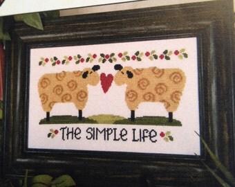Primitive Sheep cross stitch pattern - 'The Simple Life'