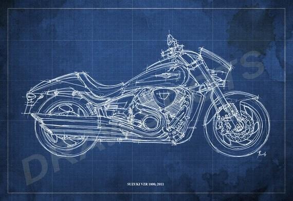 Suzuki Vzr 1800 Blueprint Art Print 8x12 In And Larger Sizes