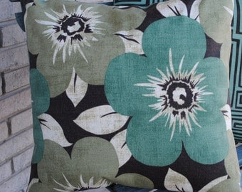 Outdoor Fabric Pillow Cover sage green and teal green and brown bold floral 18 x 18 throw pillow