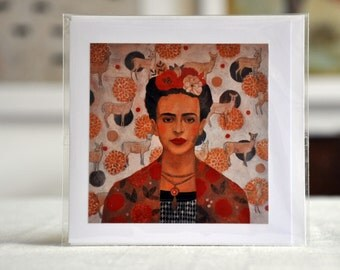 "HOMAGE TO FRIDA / Frida Kahlo / Greeting Card with envelope (5x5"")"