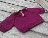 Hand knit newborn baby sweater pull over in purple with buttons 0 to 6 months READY TO SHIP