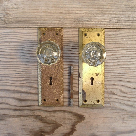 Vintage Glass Doorknob Set with Brass Plated Back Plates / Vintage Glass Door Knobs / Glass Doorknobs Victorian Through 1940s