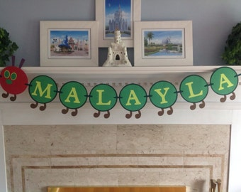 Very Hungry Caterpillar Name Banner