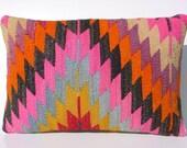 "MODERN Bohemian Home Decor,Handwoven Turkish Kilim Lumbar Pillow Cover 20"" X 14"",Decorative Kilim Pillow,Lumbar Kilim Pillow,Throw Pillow"
