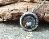 Hand Stamped Family Memory Locket, Glass locket with birthstones and hand stamped tag, perfect mother's day family necklace