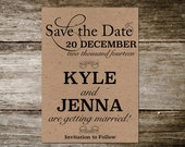 Kraft Postcard Save the Date // Save the Date Postcard Design Fee -KSD02