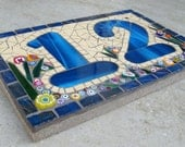 Mosaic House Number, Sign, Plaque, Street Address, Yard Art, Bespoke Number ,Digit, custom,Outdoor,Wall hanging,ornament,Glass,door number,