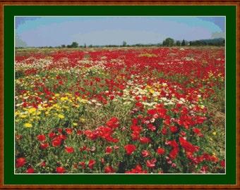 Field Of Poppies II Cross Stitch Pattern