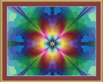 Neon Daisy cross Stitch Pattern