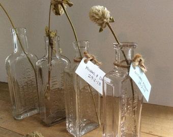 Vintage Apothecary Bottles set of four ON SALE!!!