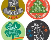 My First Holiday Stickers, Milestone Stickers by Lucy Darling - 12 Stickers