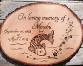 Memorial Plaque - Custom wood burned sign, koi fish, flowers, tree and leaves