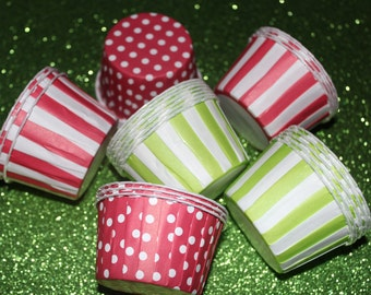 25 Christmas Candy Cups, Candy Cups, Fruit Cups, Polka Dot Candy Cups Pick Your Color