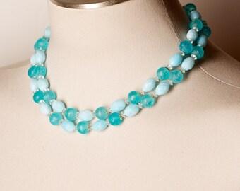 Vintage Double Strand Blue Choker Necklace