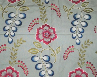 SILK LOOM JULIP Embroidered Cotton Linen Fabric 10 yards Mint Blue Red White