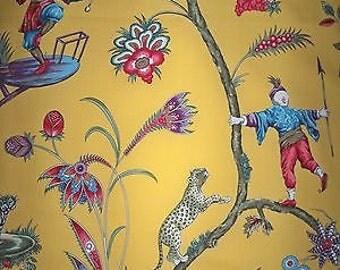SCALAMANDRE CHINOISE EXOTIQUE Chinoiserie Toile Fabric 10 yards Mustard / Multi
