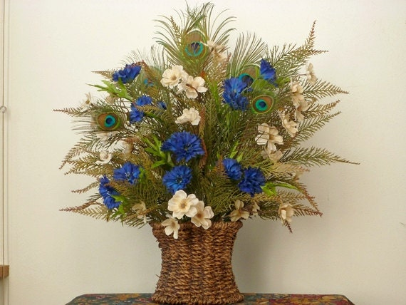 Blue Tan Cream Brown Floral Arrangement Peacock Feathers Rope