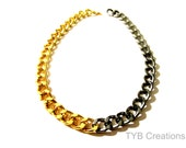 Duo Black and Gold Chain Necklace, Chunky. Chain Necklace.