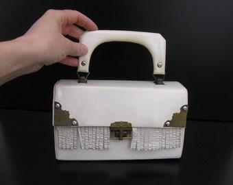 Retro White Purse Soviet Vintage Handbag Evening Bag Vintage Cocktail Bag, Bags Collectibles. Little White Bag