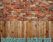 Grunge Alley Brick with Wood - Vinyl Photography  Backdrop Photo Prop