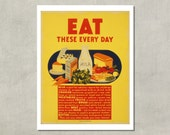 Eat These Every Day - Government Poster, 1942 - 8.5x11 Poster Print - also available in 13x19 - see listing details