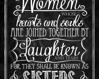 Chalkboard Style Art:  Sisters Quote
