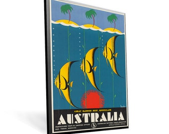 Vintage Travel Australia Poster on 8x12.75 Popmount Ready to Hang FREE SHIPPING