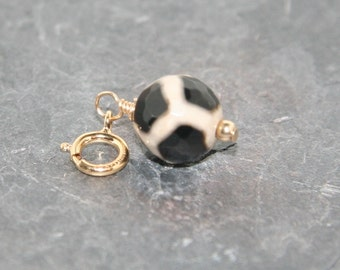 Leopard print black and white faceted round agate charm on 14k gold filled clasp - Add a Charm