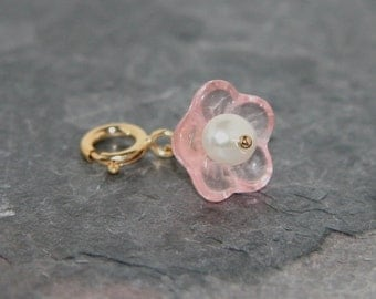 Pale pink Lucite flower charm with freshwater pearl center on 14k gold fill