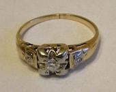 Antique 10K White Yellow Gold Diamond Engagement Ring