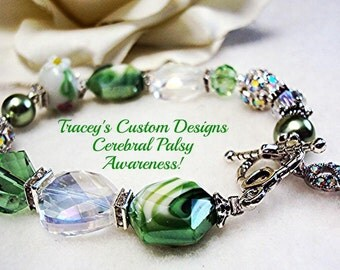 Stunning CEREBRAL PALSY AWARENESS Bracelet - Custom made designs.