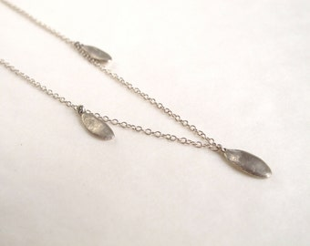 Silver seed necklace sterling silver cast pendant necklace