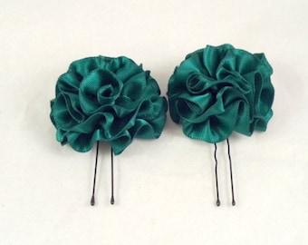 Hair Pins Hunter Green Satin Ruffle Flower Women Teens Girls Wedding Bridal Bridesmaids Flowergirls