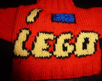 Hand Knitted Sweater with I Love Lego to fit Build a Bear animals