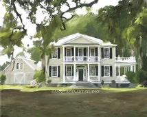 Real Estate Gift Idea - Custom Home Portrait Painting from Photo Personalized Art - Stretched