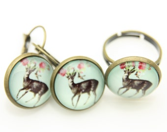 SET earrings and ring deer and flower