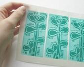 linocut - JADE PLANTS - 5x7 / printmaking / block print / jade tree, succulent print / turquoise, green, teal / original