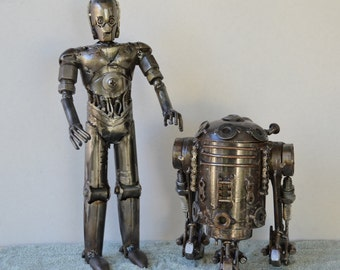 "Hand Made C3PO and R2D2 Set 12"" Inches Recycled Scrap Metal Sculptures"