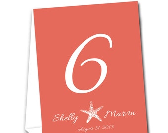 Starfish Table Tent Numbers