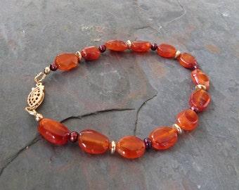 Carnelian Bracelet w Red Seed Pearls & Gold, Handmade, Orange, 7 3/4 Inch
